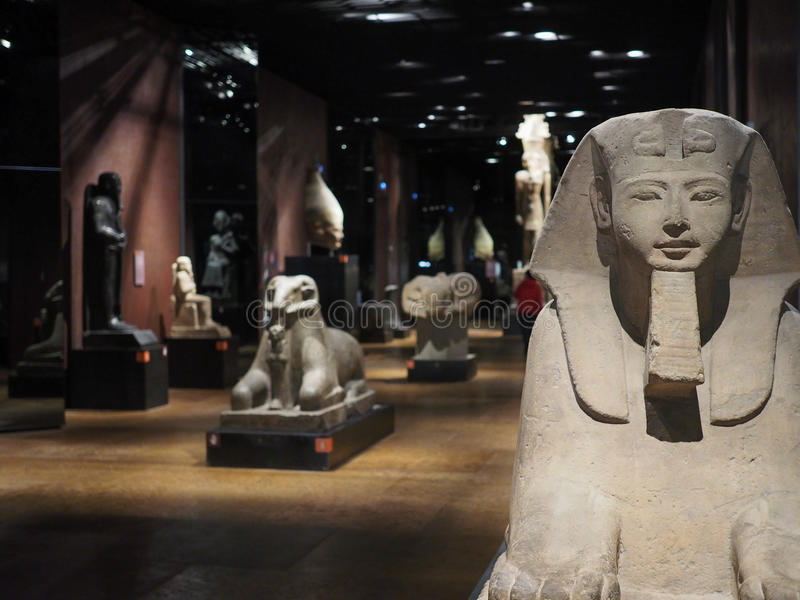 在Museo Egizio (埃及博物馆)的狮身人面象在都灵 免版税库存照片
