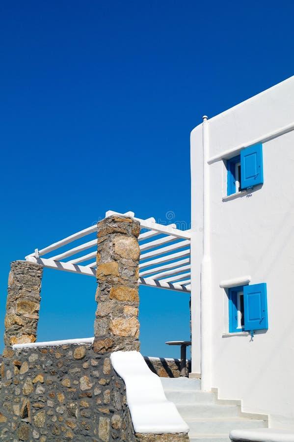 在Mykonos海岛上的传统希腊房子 库存图片