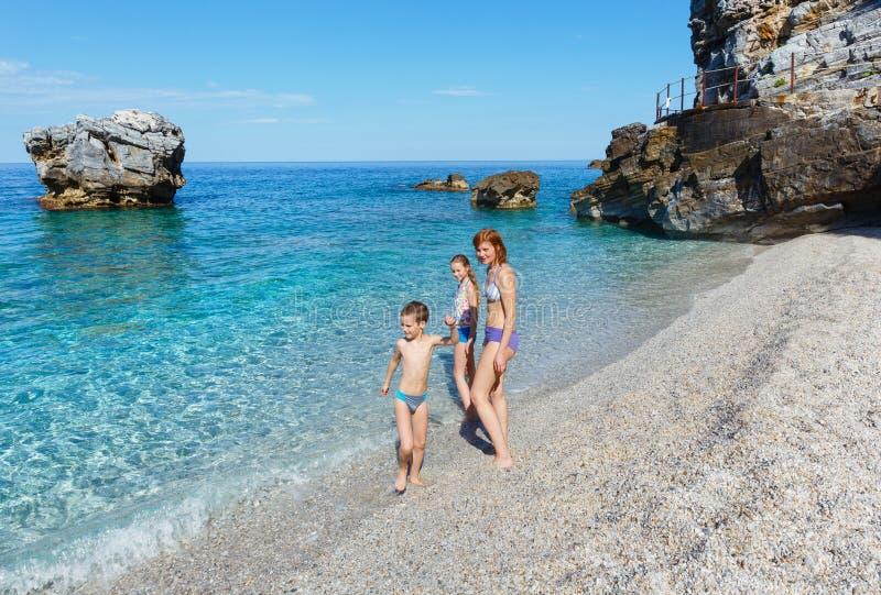 在Mylopotamos海滩(希腊)的家庭 免版税库存照片