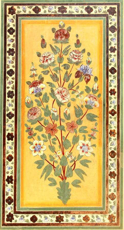 在Nahargarh堡垒的壁画。 免版税库存照片