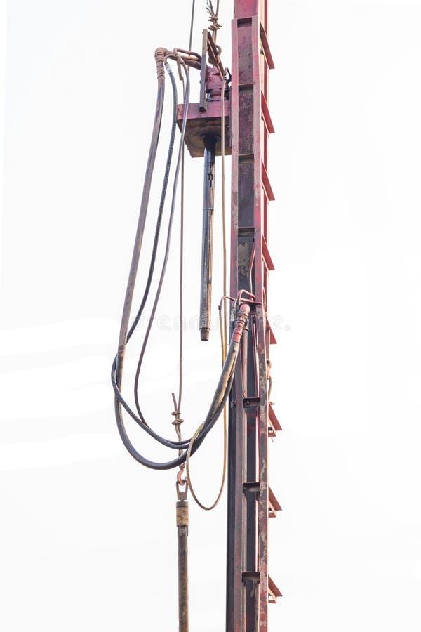 在Namngum2水坝站点的钻子地水 免版税库存照片