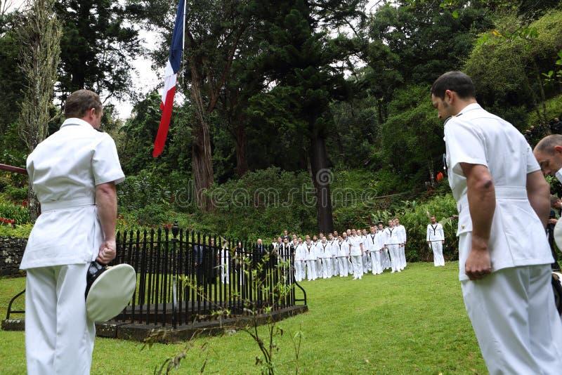 在Napoleons坟茔的英国皇家海军在圣赫勒拿海岛上 免版税库存照片