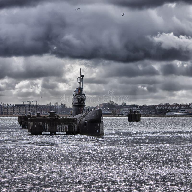 在NDSM船坞的潜水艇在阿姆斯特丹 图库摄影