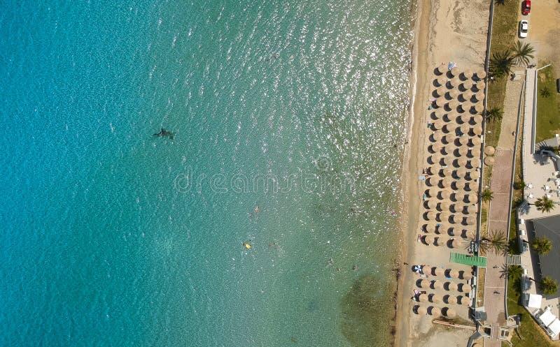 在Nea Roda的海滩哈尔基季基州的,希腊 库存图片