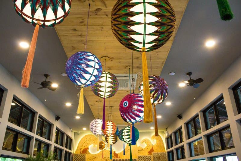 在Nekoemon咖啡馆清迈泰国的日本灯笼 库存照片