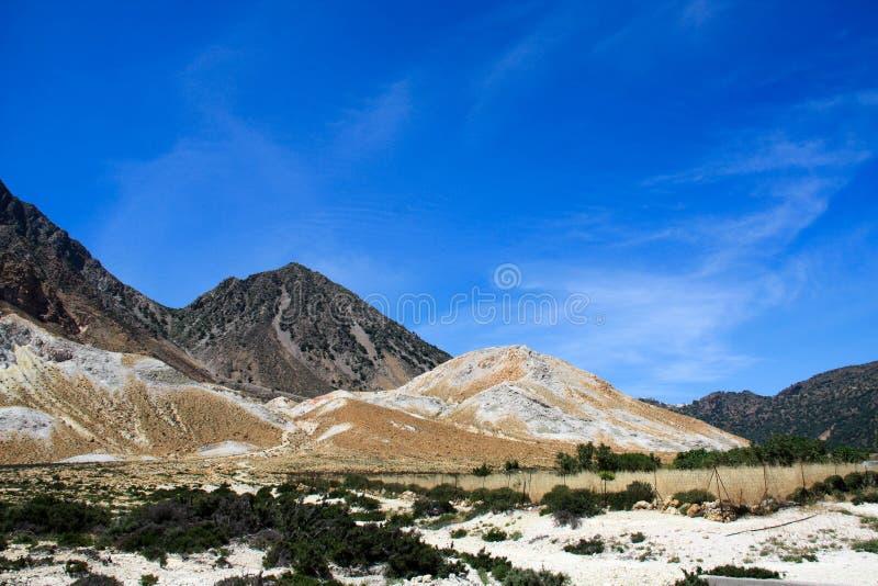 在Nisiros海岛上的火山 库存照片
