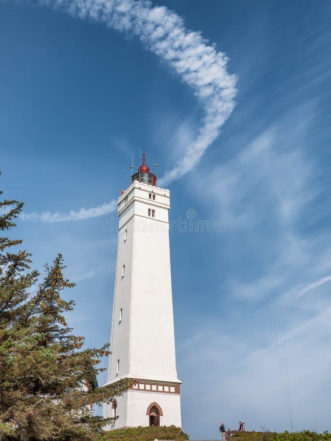 在Nort沿海的Blaavand灯塔在丹麦 库存照片