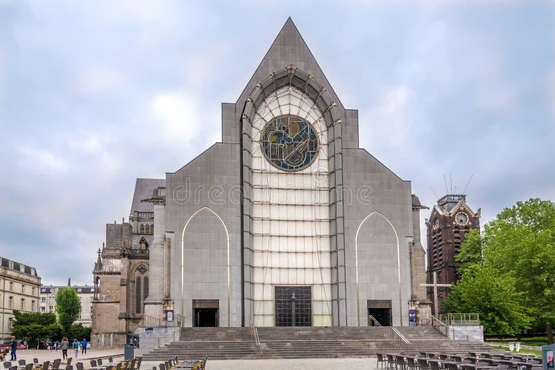 在Notre Dame de la Treile Catheddral的看法在里尔-法国 库存图片