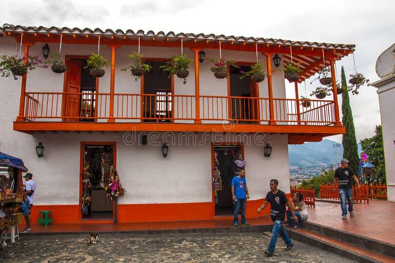 在Nutibara小山的Pueblito Paisa 库存照片