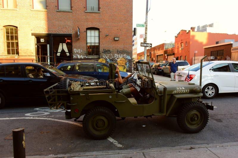 在NYC的军用汽车 免版税库存图片