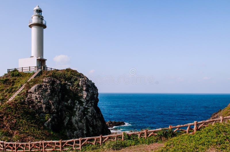 在Oganzaki海角的灯塔 石垣海岛, Okin的吸引力 免版税库存照片