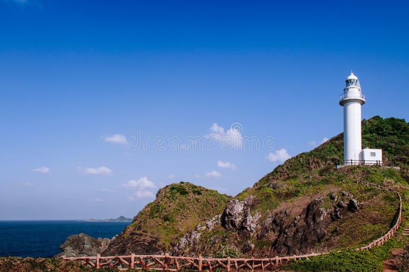 在Oganzaki海角的灯塔 石垣海岛, Okin的吸引力 免版税库存图片