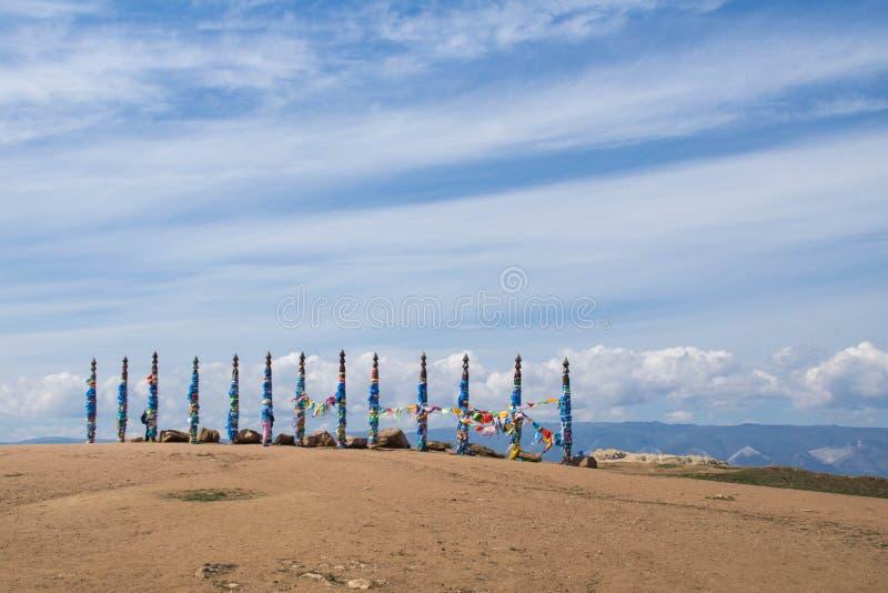在Olkhon海岛上的神圣的毛哔叽柱子 库存图片