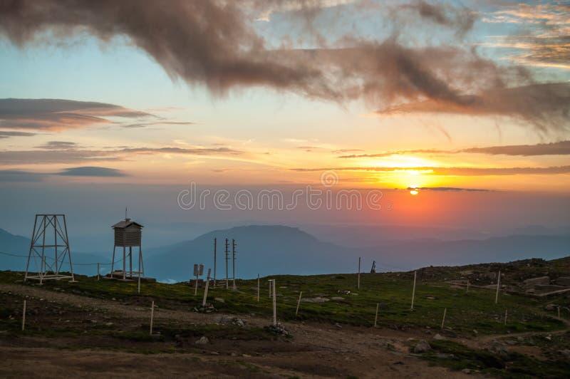 在Omu峰顶的日出 库存照片