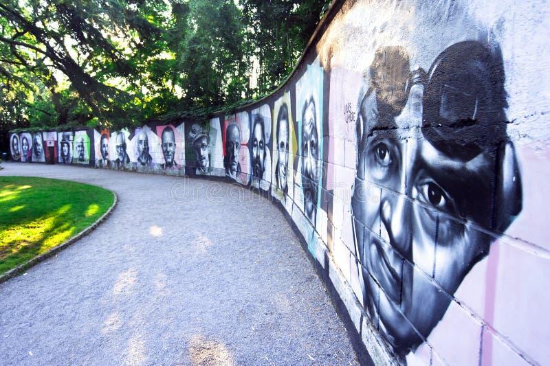 在Opatija的街道画墙壁,克罗地亚 库存图片
