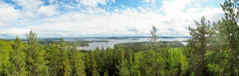 在päijänne湖的概要从在moun的struve测地学弧 免版税库存照片