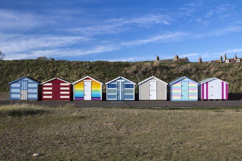 在Pakefield,萨福克,英国的海滩小屋 免版税库存图片