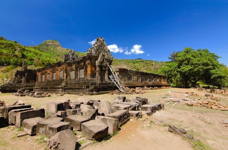 在pakse老挝的watphu寺庙 图库摄影