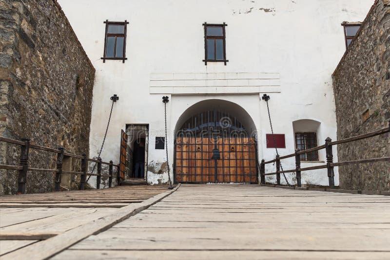 在Palanok城堡的纪念碑  库存照片