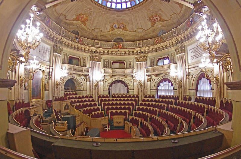 在Palazzo卡里尼亚诺,托里诺的亚高山带议会 图库摄影
