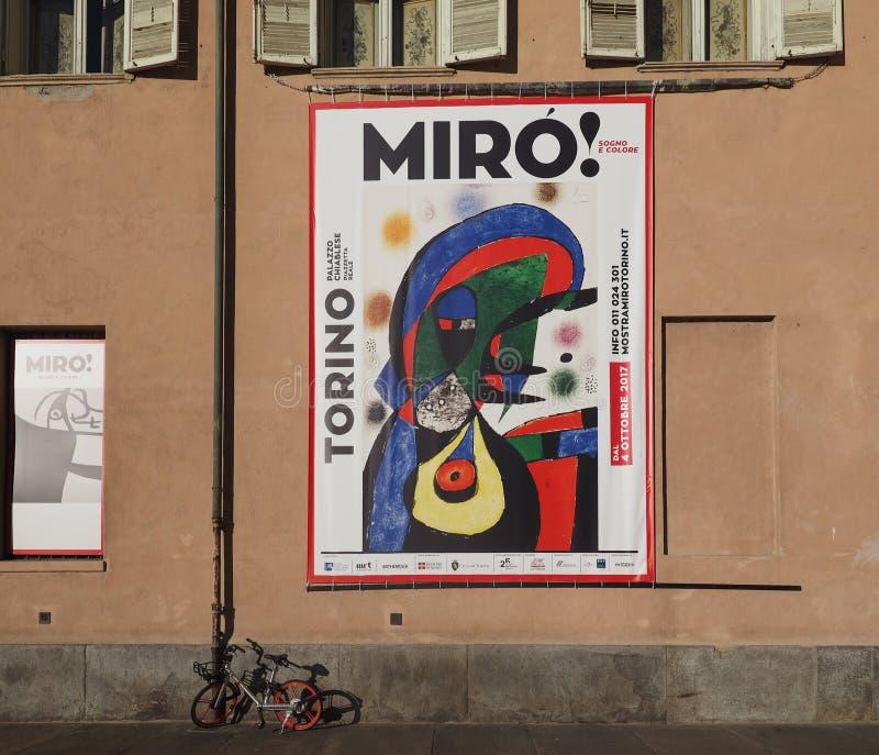 在Palazzo Chiablese的Miro陈列在都灵 库存照片