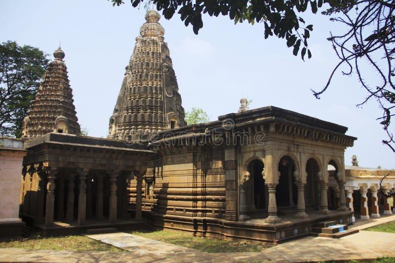 在Panchganga加特戈尔哈布尔,马哈拉施特拉的湿婆阁下寺庙 库存照片