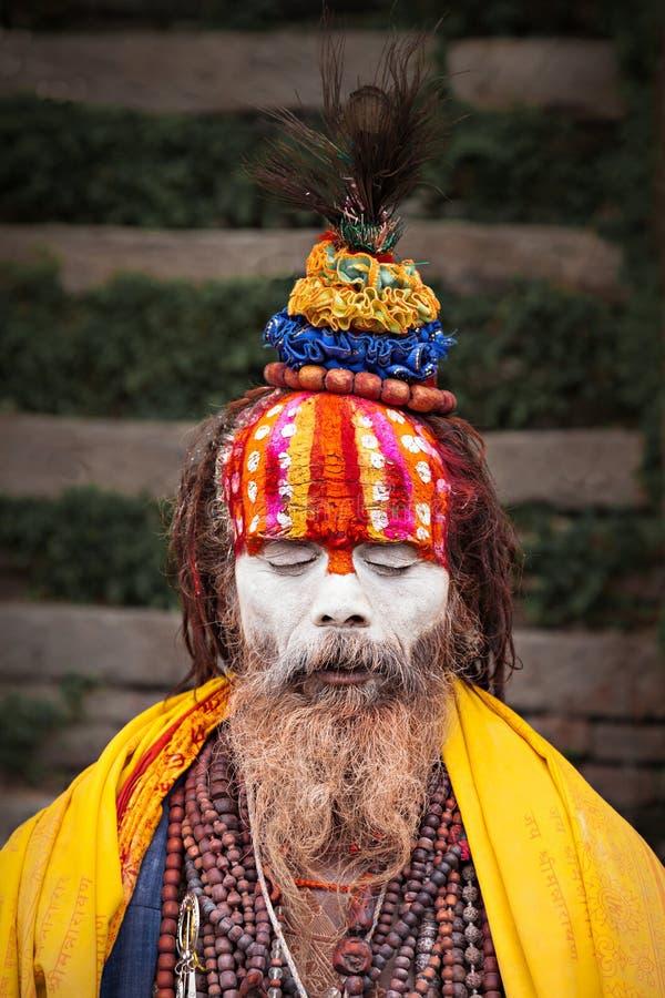 在Pashupatinath寺庙的Sadhu 免版税库存照片