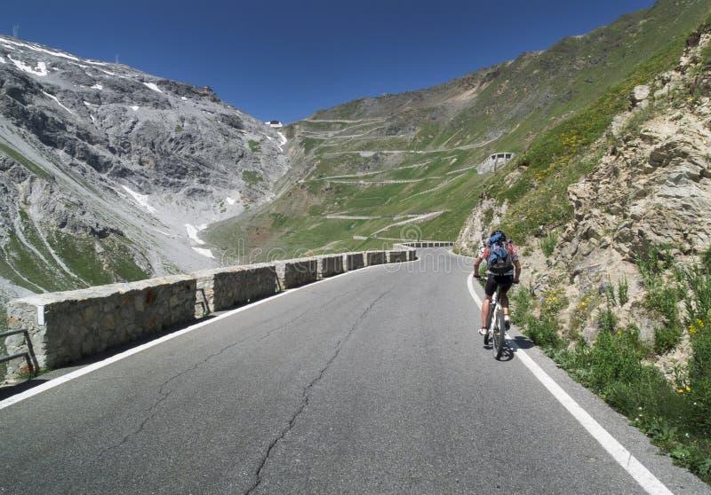 在Passo dello Stelvio的Mountainbiking 免版税图库摄影