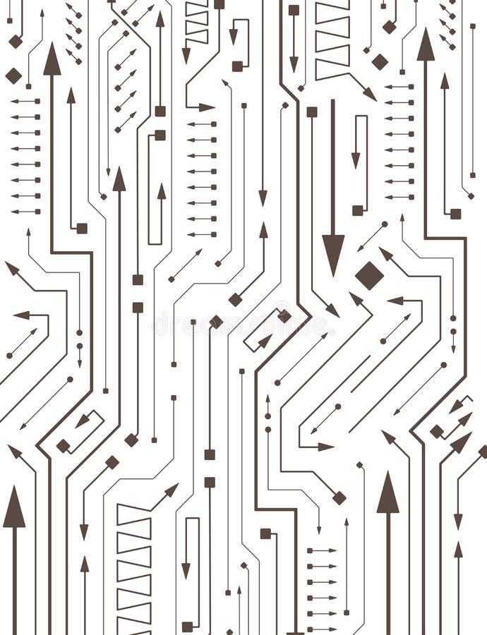 在PCB布局样式的抽象电路与箭头 向量例证