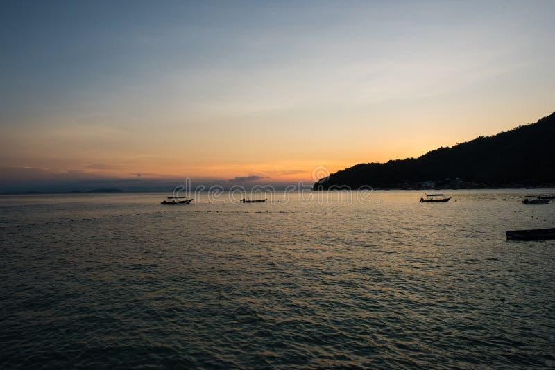 在Perhentian Besar,马来西亚的日落 图库摄影