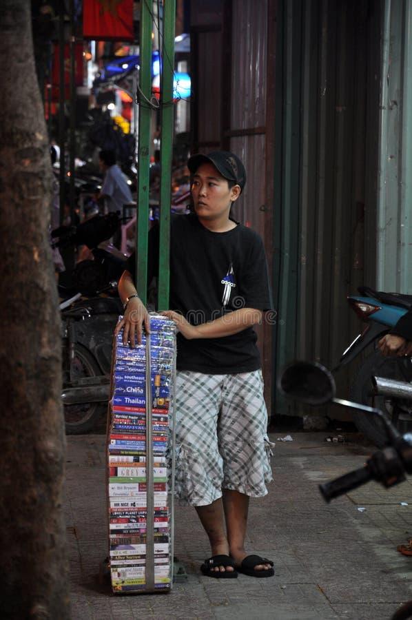 在Pham Ngu老挝人街道saigon越南的售书 免版税库存照片