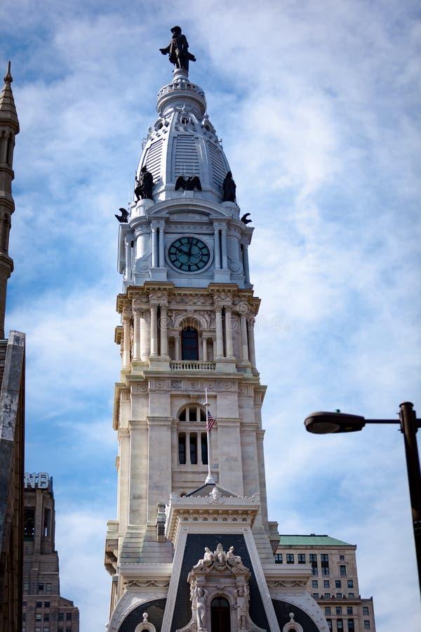 在Philly香港大会堂的威廉・佩恩雕象 免版税图库摄影