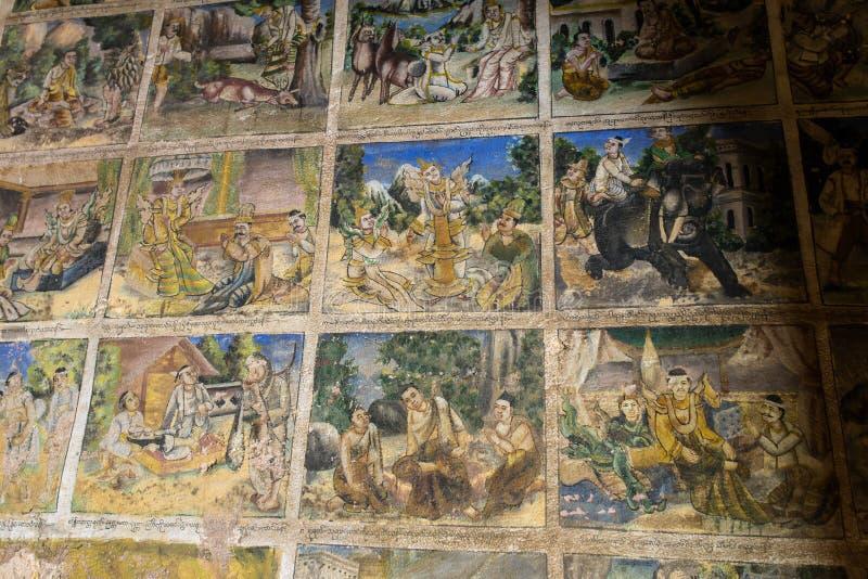 在Pho墙壁上的老绘画在Monywa赢取塔翁佛教洞 免版税库存图片