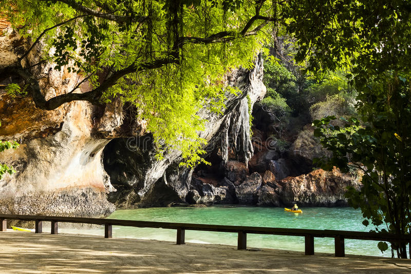在Phra Nang海滩的看法在Krabi 免版税库存图片