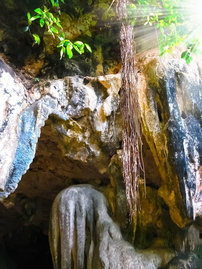 在Phra Nang的岩石在Railay海岛, Krabi,泰国上靠岸 库存照片