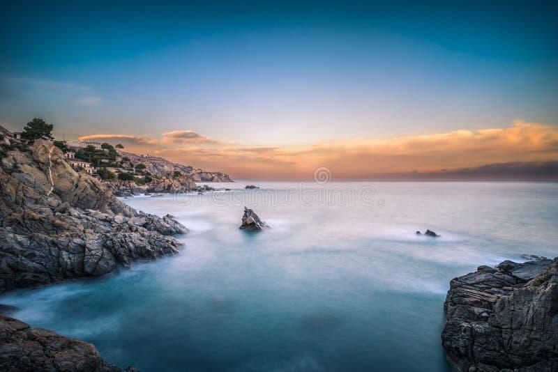 在Pietragrande峭壁的日落 免版税图库摄影