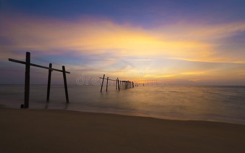 在Pilai海滩的日落 免版税库存图片