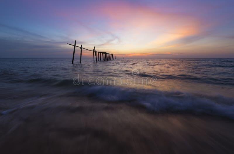 在Pilai海滩的日落 库存图片