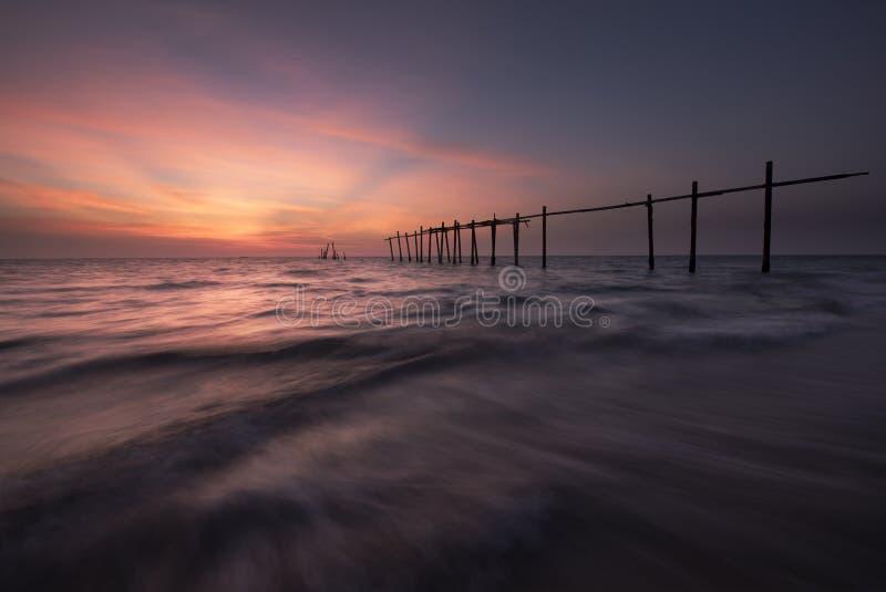 在Pilai海滩的日落 免版税图库摄影