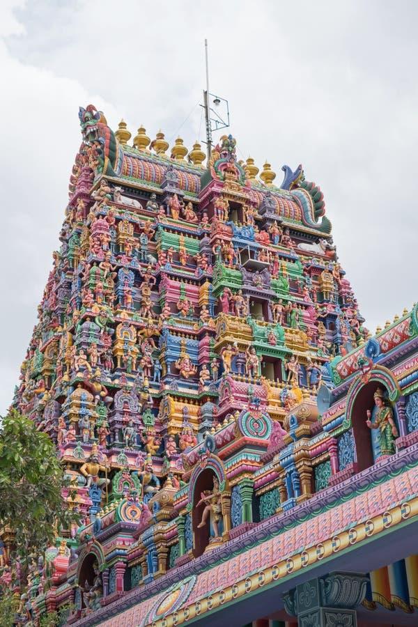 在Pillaiyarpatti的印度寺庙塔在泰米尔纳德邦 免版税库存图片