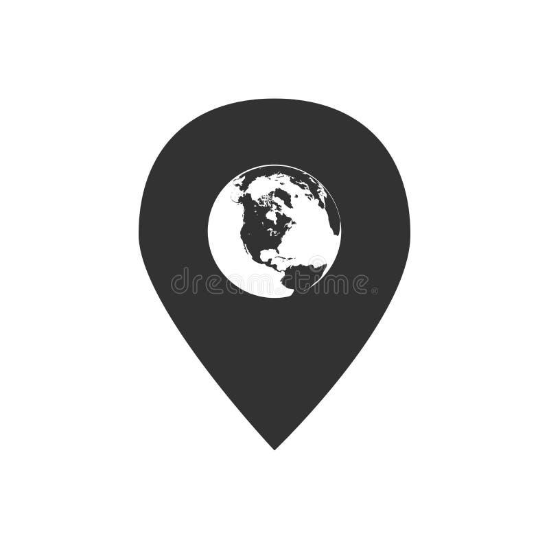 在Pin传染媒介象,全球性地图尖里面的地球 : 皇族释放例证