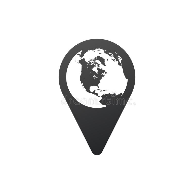 在Pin传染媒介象,全球性地图尖里面的地球 : 向量例证