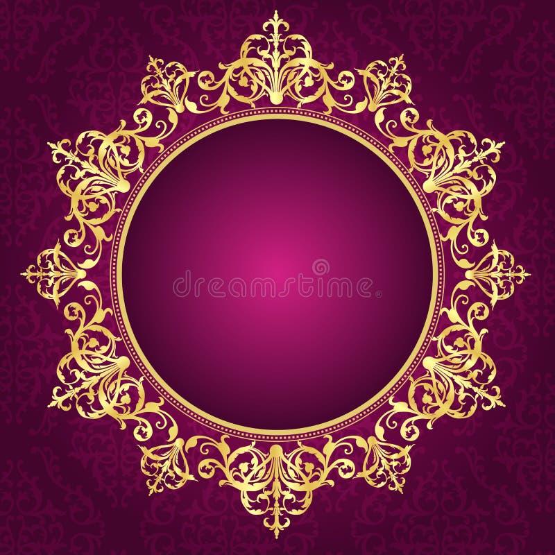 在pinkdamask样式邀请backgroun的金装饰框架 向量例证