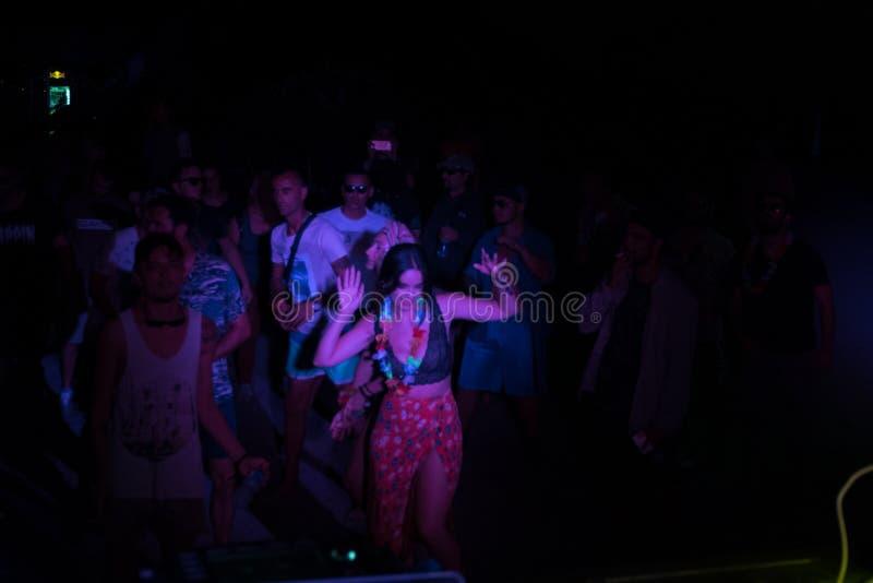 在pjeshka节夜宴上演奏音乐的DJ 免版税库存照片