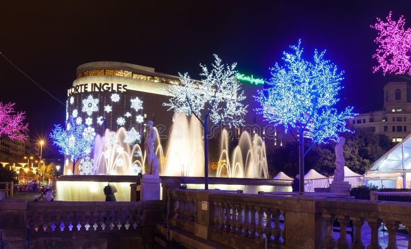 在Placa de Catalynia的圣诞节装饰。巴塞罗那 库存照片