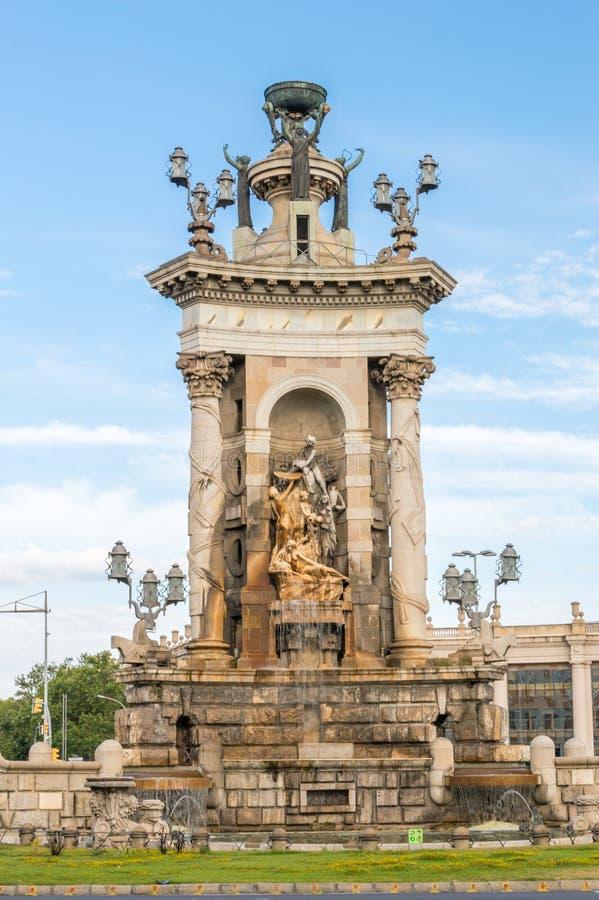 在Placa Espanya的巨大的喷泉在巴塞罗那 免版税库存图片