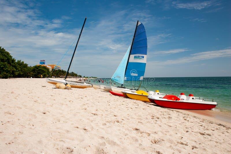 在Playa肘,Trinodad,古巴的小船 免版税库存照片