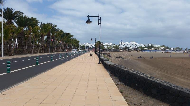 在Playa de los Pocillos的路 库存照片
