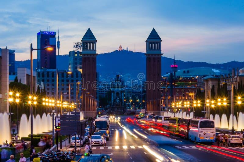 在Plaza de西班牙的威尼斯式塔在巴塞罗那 免版税库存图片