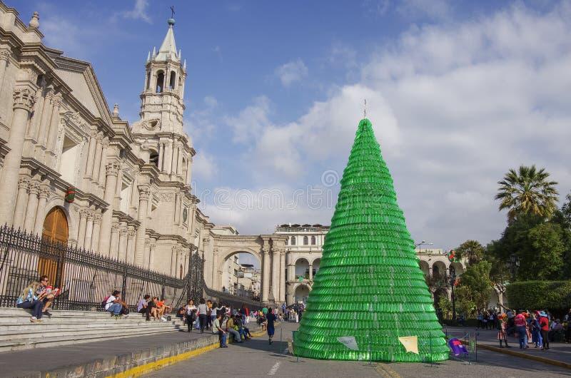 在Plaza de阿玛斯广场的圣诞树有阿雷基帕大教堂大教堂的  库存照片